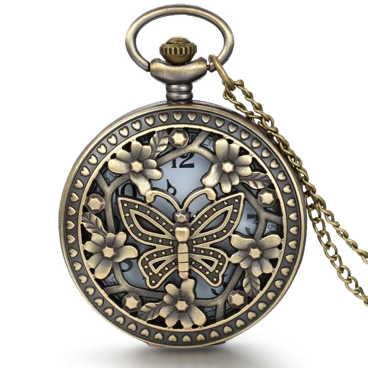 JewelryWe Retro Design Bronze Butterfly Flower Openwork Cover Pocket Quartz Watch with 31.5 Inch Chain
