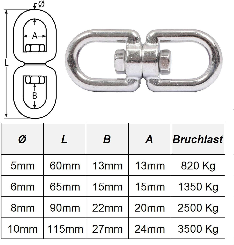 Ankerwirbel//Wirbelsch/äkel//Kettenwirbel//Kettenverbinder//Verbinder aus Edelstahl Auswahl