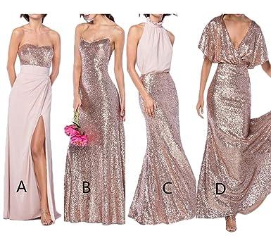 e7b0b6f0d5f2 gsunmmw Sexy Rose Gold Mermaid Sequins Bridesmaid Dresses Spaghetti Chiffon  Long Prom Wedding Party Dress GS015 at Amazon Women's Clothing store: