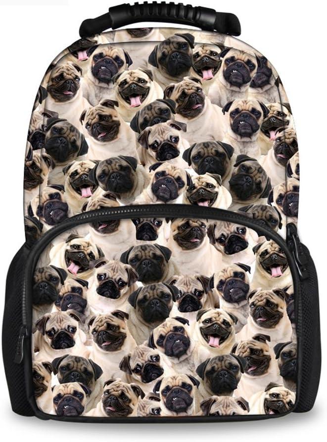 Delerain 3D Colorful Pug Dog School Backpack Lightweight Travel Daypack Shoulder Bag 17 Inch Plus Laptop Bag Book bag for 1-6th Grade Boys Girls Back to School