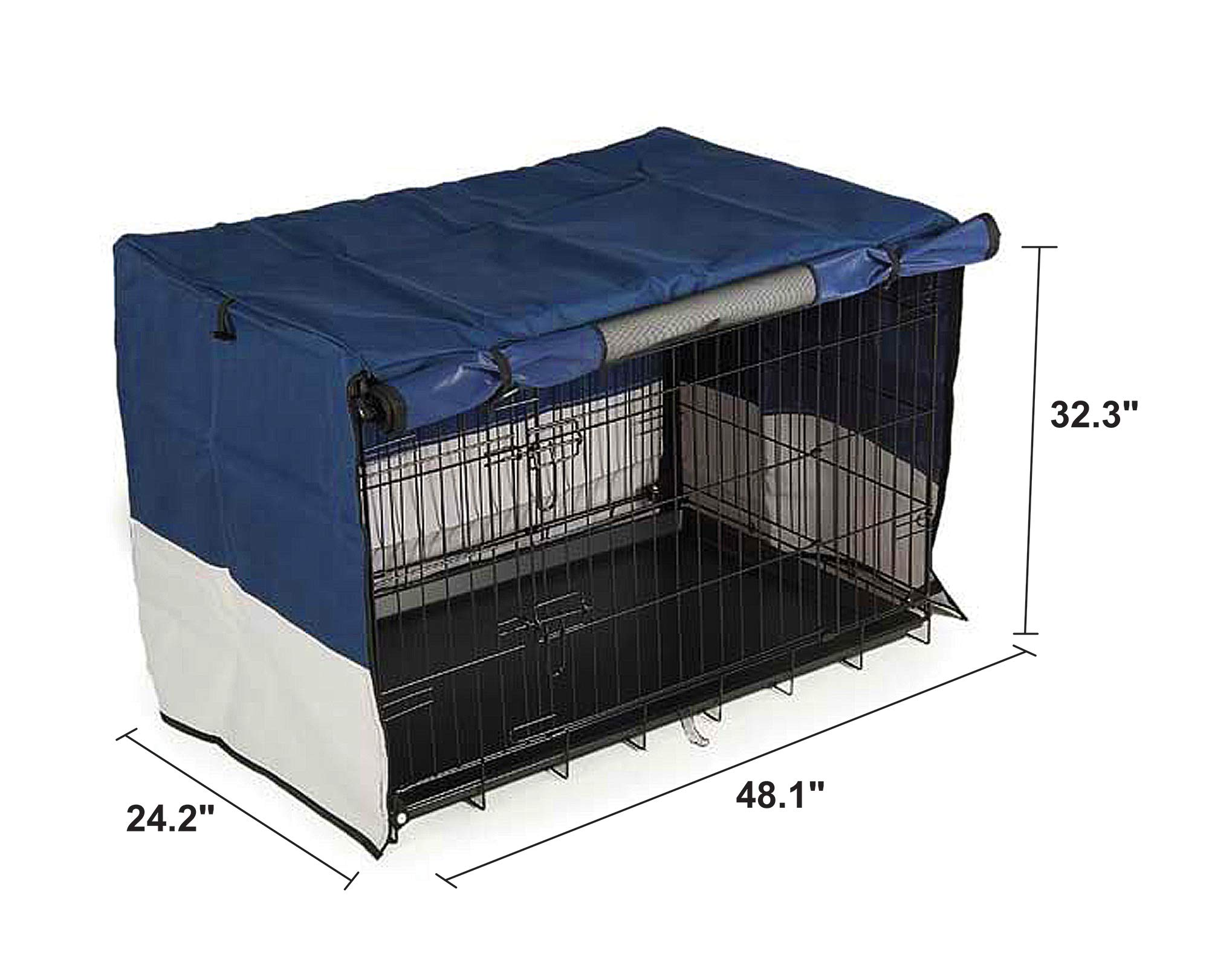 Iconic Pet Protectant & Durable Indoor/Outdoor Pet Crate Cover for 48'' Pet Cage - Oxford Fabric Cover, Water Resistant, Four Side Zippers for Better Visibility of Dogs/Cats, Navy Blue/Light Gray