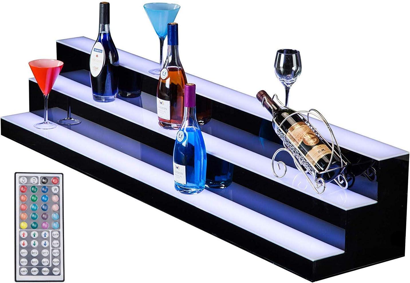 SUNCOO 3 Step LED Lighted Liquor Bottle Display Shelf 60 Inch, Home Bar Bottle Shelf, Drinks Lighting Shelves with Remote Control