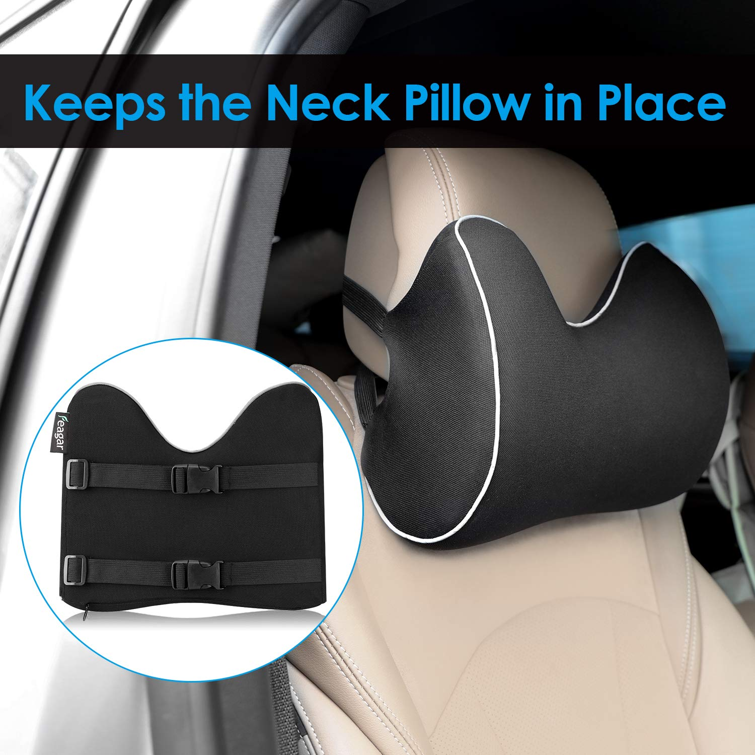 Feagar Car Seat Neck Pillow, Memory Foam Headrest Cushion for Driver Head, Cervical Support - Ergonomic, with 2 Adjustable Straps and Washable Cover- Driving Neck Pain Relief (Black Car Neck Pillow) by Feagar (Image #4)