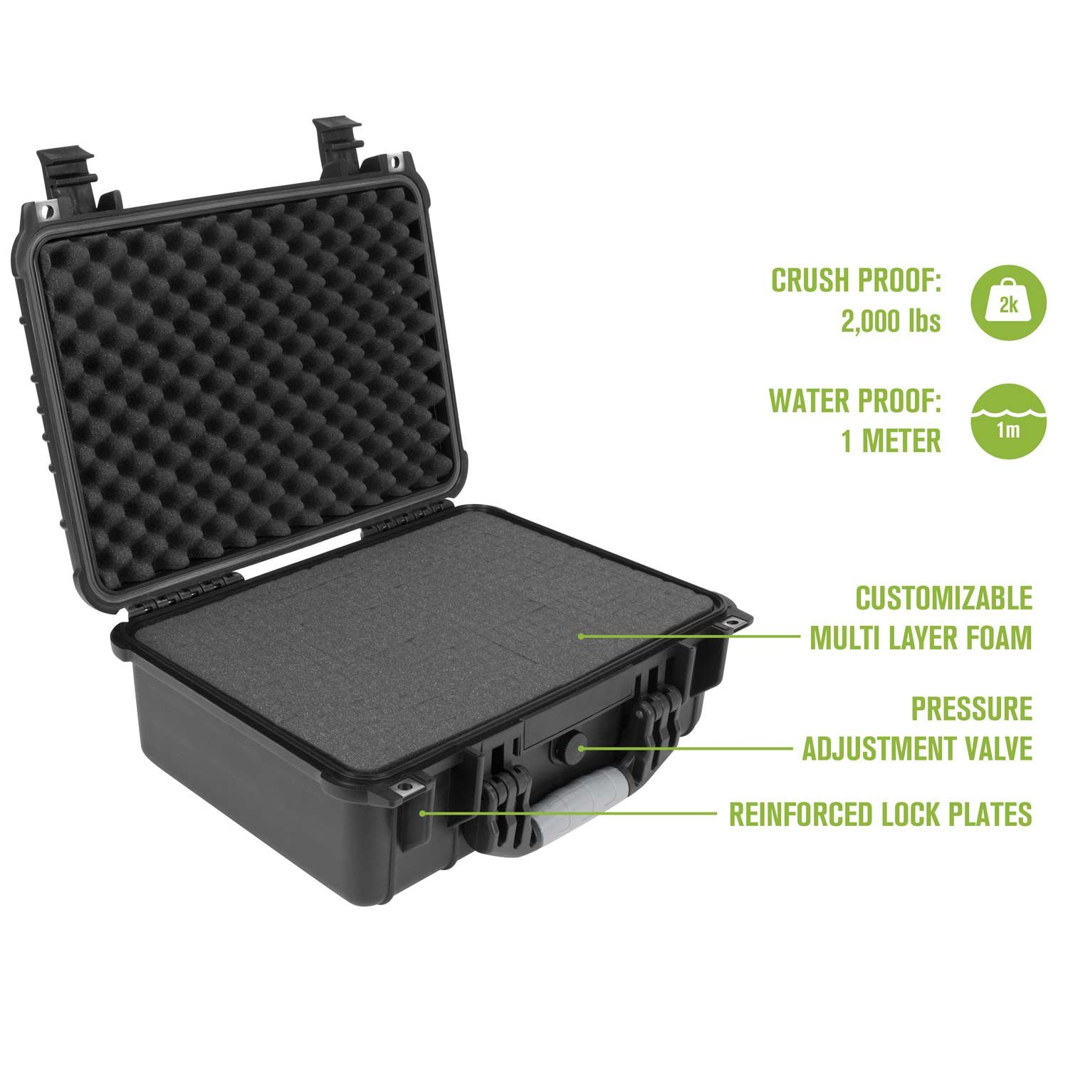 Elkton Outdoors Hard Gun Case: Fully Customizable Pistol Case: Holds 4 Handguns and 8 Magazines: Crush Resistant & Waterproof! by Elkton Outdoors (Image #2)