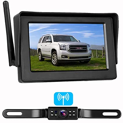 emmako backup camera digital wireless and 4 3'' monitor kit no flickers for  car/