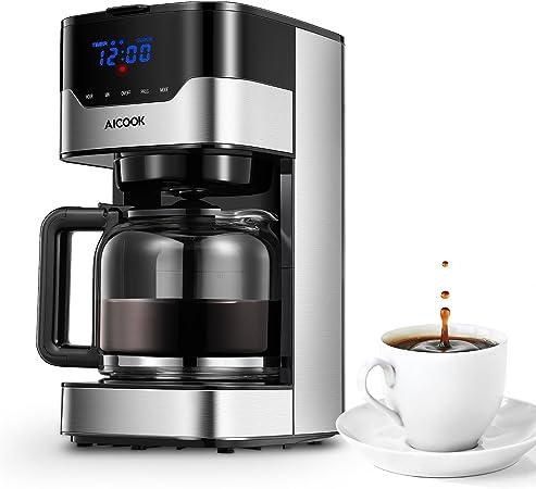 Cafetera Aicook Cafetera Goteo para 12 Tazascon con Temporizador Programable, Máquina de Café con Pantalla Táctil, Filtro Permanente, Sistema Antigoteo, Tanque de Agua DE 51 oz/ 1.5 Litros/ 900W,Negro: Amazon.es: Hogar