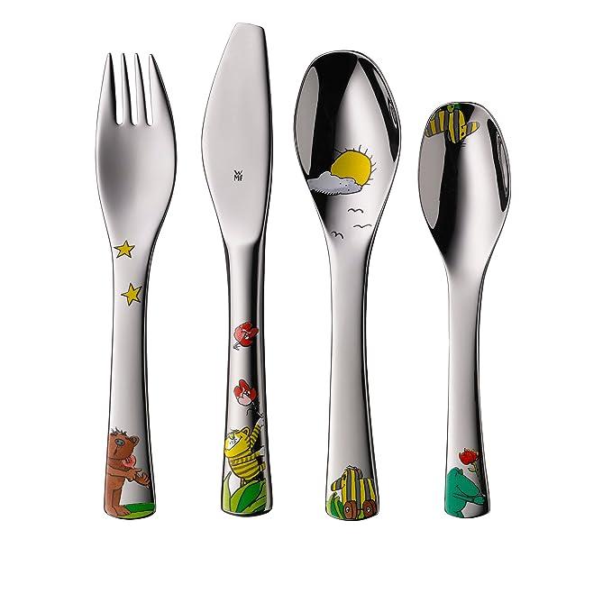 WMF Janosch - Vajilla para niños 6 piezas, incluye plato, cuenco y cubertería (tenedor, cuchillo de mesa, cuchara y cuchara pequeña) (WMF Kids infantil): ...