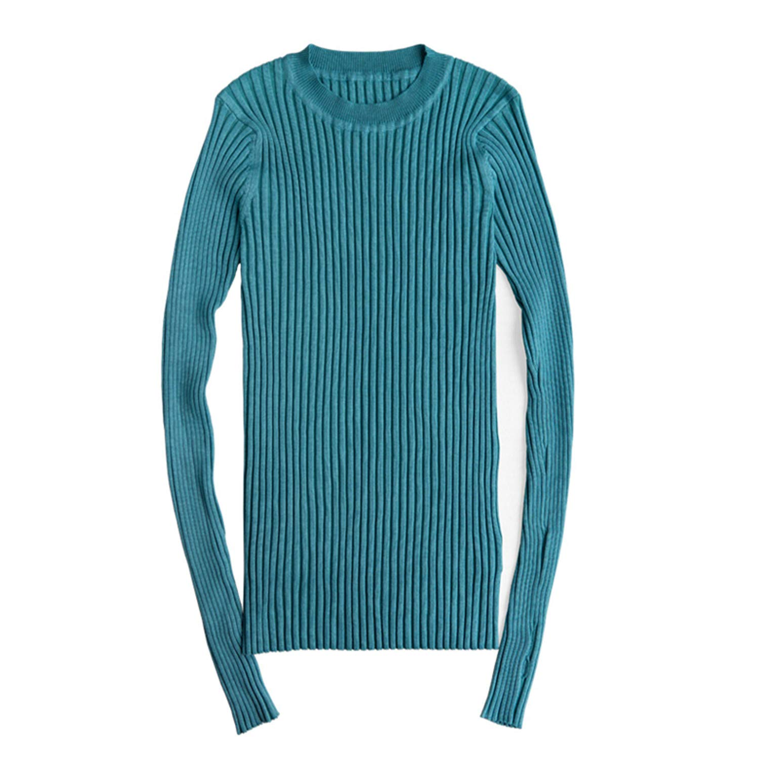 c2760e33669983 Women Sweater Pullover Basic Rib Knitted Cotton Tops Crew Neck Essential  Jumper Long Sleeve Sweaters Aqua Blue One Size at Amazon Women s Clothing  store