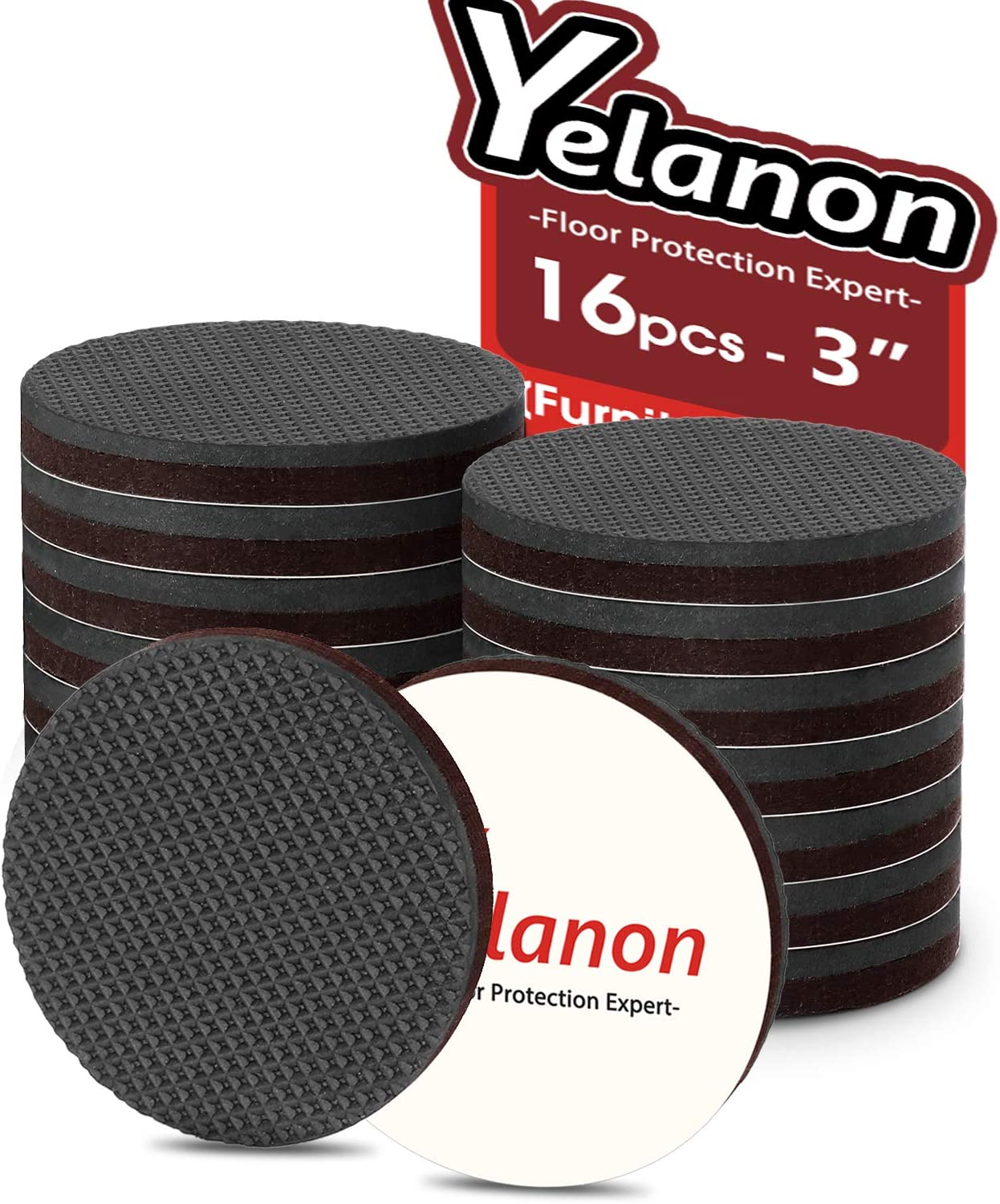 Yelanon Non Slip Furniture Pads - 16pcs 3'' Chair Leg Floor Protectors Furniture Pads for Hardwood Wood Floors Protector Furniture Anti Scratch Self Adhesive Rubber Feet Furniture Grippers