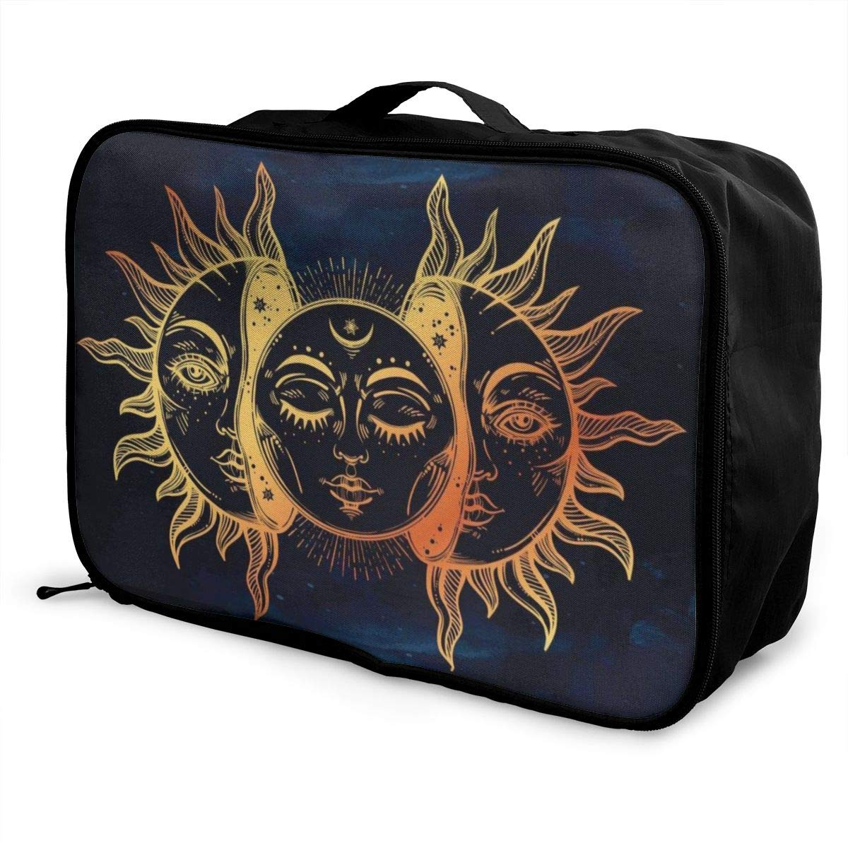 Vintage Sun And Moon Solar Eclipse Travel Lightweight Waterproof Foldable Storage Carry Luggage Duffle Tote Bag Large Capacity In Trolley Handle Bags 6x11x15 Inch