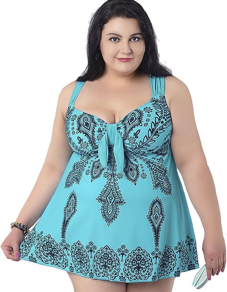 QZUnique Womens Plus Size Swimdress Printed Swimsuit Beachwear with Shorts