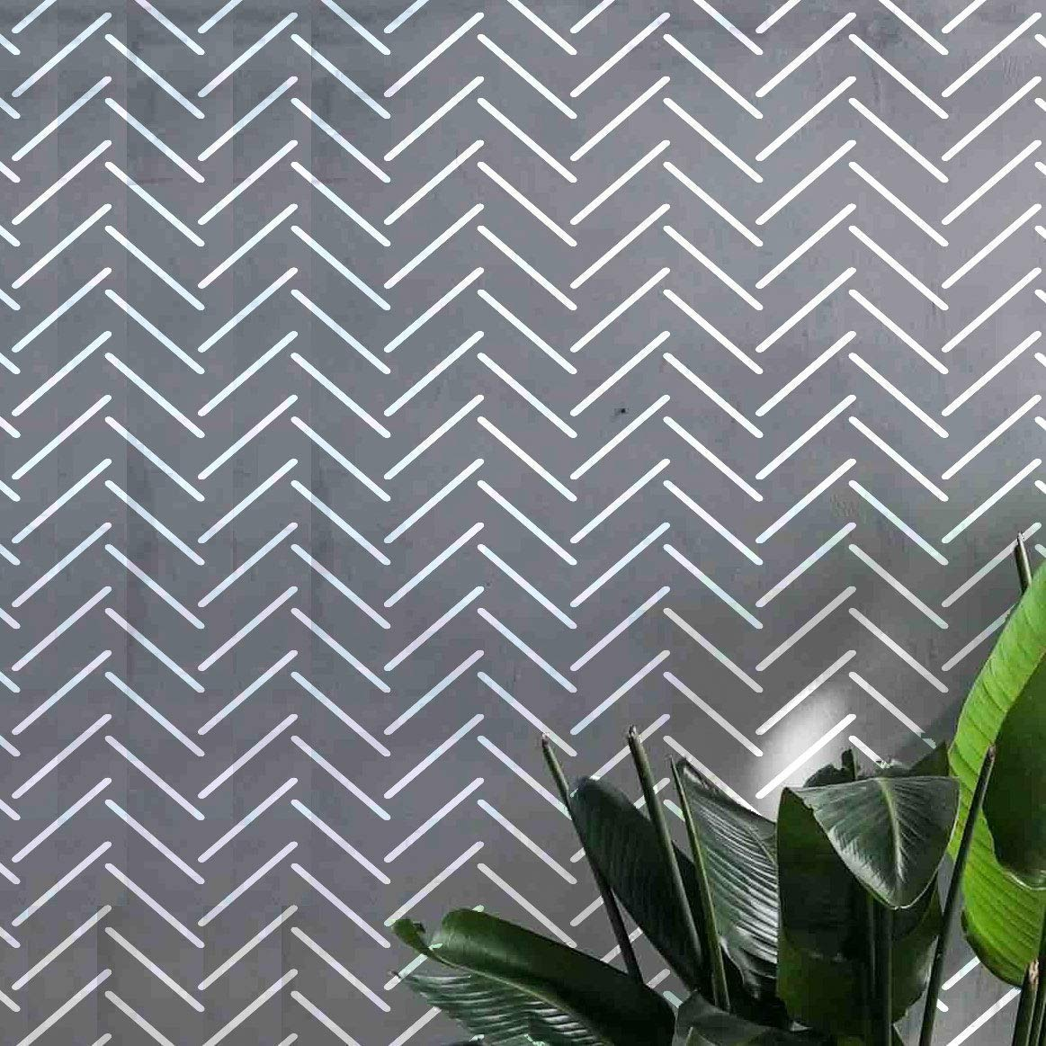 PINKIPO® 【2 Pack】, HERRINGBONE Illusion, Large WALL STENCIL, Modern Wall Stencils for Painting, Stencils For Walls, Simple, Wall Stencil Pattern