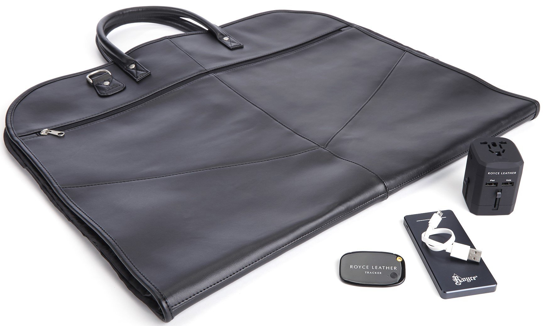 ROYCE Luxury Travel Set: Garment Bag with Bluetooth-based Tracking Device for Locating Luggage, Portable Power Bank and International Adapter - Tan by Royce Leather (Image #2)