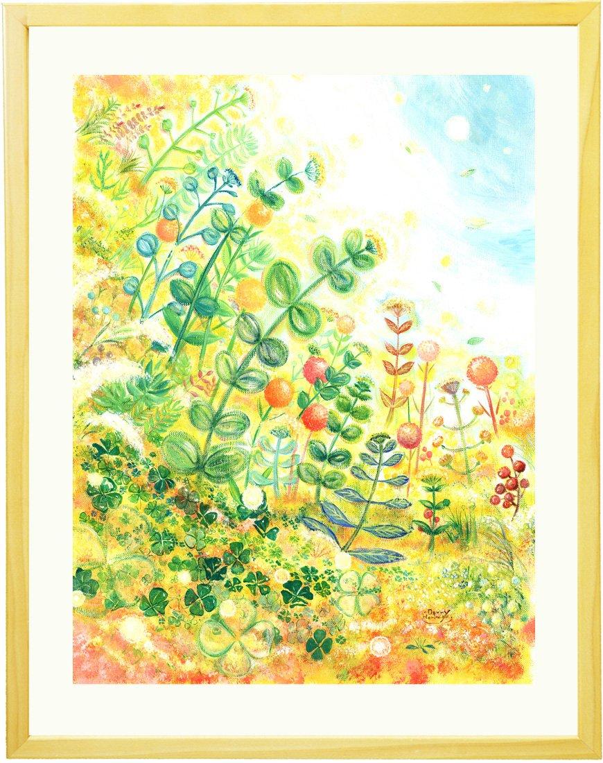 絵画 インテリア 壁掛け グリーン 「grow」 額入りS(270×220mm) 四つ葉のクローバー 玄関 部屋 植物 インテリア雑貨 おしゃれ ナチュラル アート B01EYRWMGESサイズ