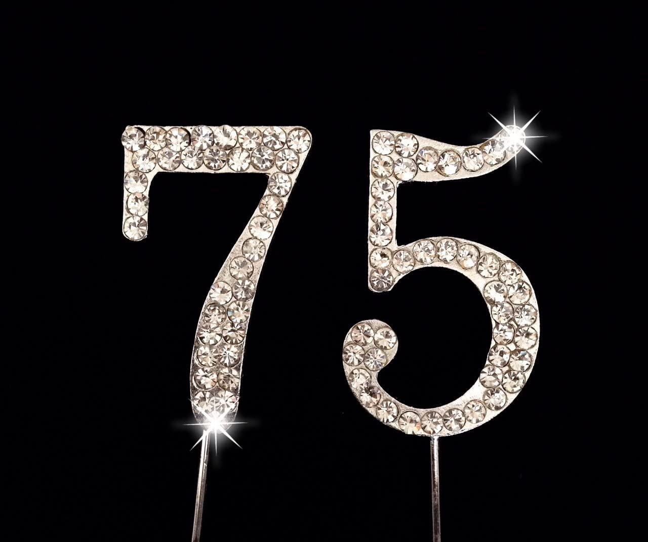 Wedding Anniversary Number Cake Topper with Sparkling Rhinestone Crystals 20th Birthday 1.75 CC-NRCT-1 20th Year Cake Topper 1.75