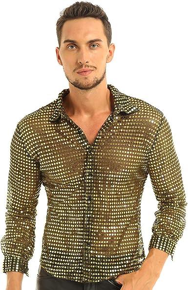 IEFIEL Camisa de Baile Latino Lentejuelas Hombre Camisa de Danza Moderna Brillante Sexy Traje de Baile Disfraz Estilo 80s Vintage M-XL: Amazon.es: Ropa y accesorios