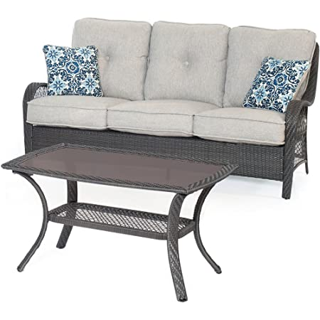 Hanover ORLEANS2PC-G-SLV Orleans 2 Piece Patio Sofa Set in Silver Lining Outdoor Furniture, Grey Wicker