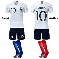 GESUNDHOME Ensemble de Maillots de Football pour Enfants 7-14 Ans 2018 Coupe du Monde France 2 Étoiles T-Shirt Short avec Deux Paires de Chaussettes