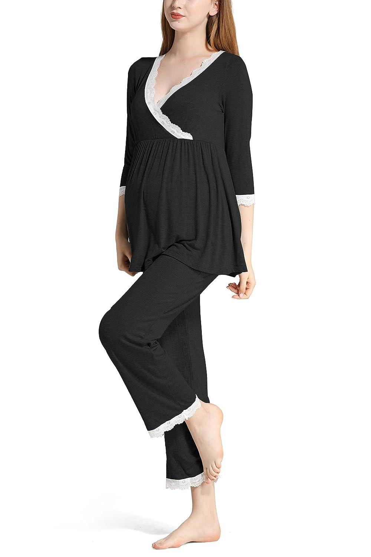 Molliya Women s Cotton Maternity Nursing Pajama Set Lace 3 4 Sleeve Tops  and Long Pants Sleepwear Set at Amazon Women s Clothing store  74a725c8c