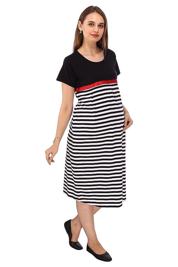 3204d8c5f05 VIXENWRAP White   Jet Black Striped Maternity Dress  Amazon.in  Clothing    Accessories