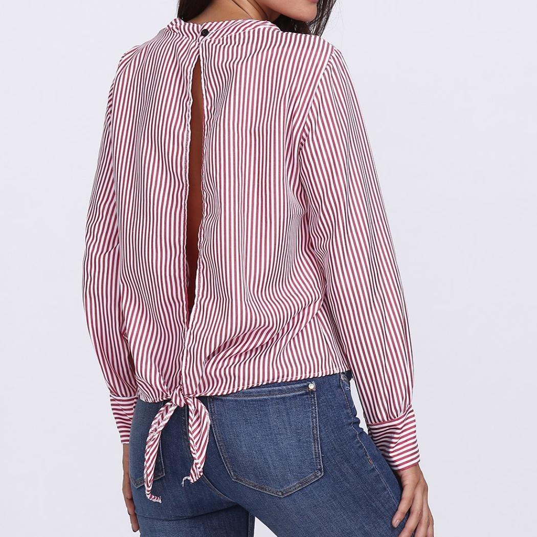 Tops de la Moda de Mujeres Camisa de Estampado a Rayas ahuecada Blusa Casual Botón de Proa Tops ❤ Manadlian: Amazon.es: Ropa y accesorios