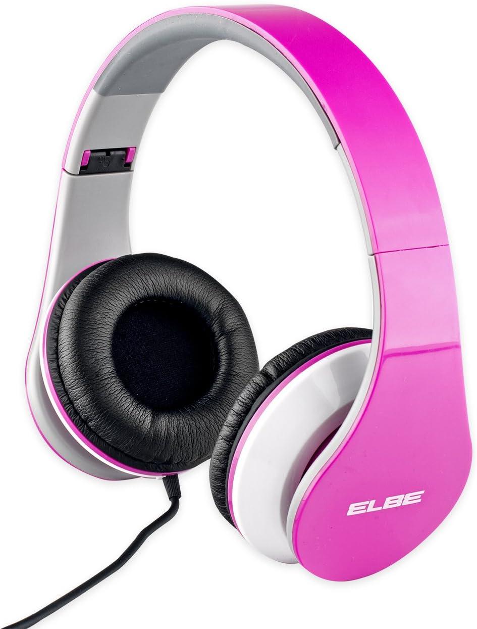 Elbe AU-545-PK Auricular plegable, ajustable, cómodo, ligero, altavoz 40 mm, almohadillas suaves de piel, impedancia 32 ohms, calbe 1.2m, conector 3.5mm plateado, color rosa