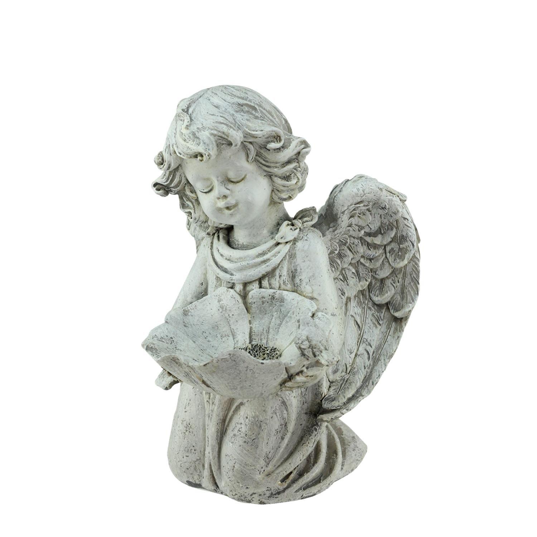 Northlight 9.5'' Heavenly Gardens Distressed Kneeling Cherub Angel Bird Feeder Outdoor Patio Garden Statue