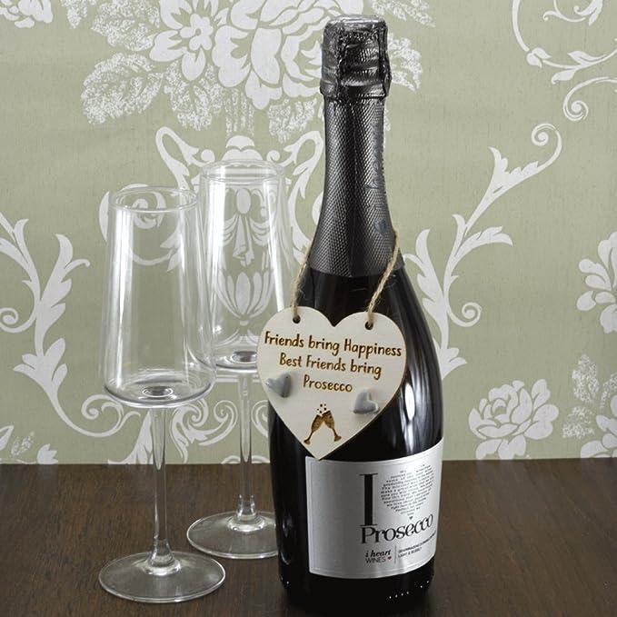 Amigos traer felicidad mejores amigos traer Prosecco hecho a mano botella de vino encanto etiqueta regalo recuerdo de señal: Amazon.es: Hogar
