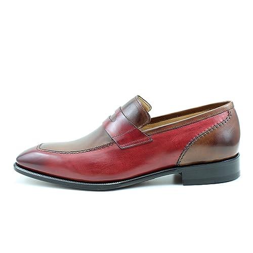 Giorgio Rea Zapatos Para Hombre Rojo Marron Elegante Hombre Zapatos Hecho A Mano EN Italia Cuero Real Brogue Oxfords Richelieu Mocasines: Amazon.es: Zapatos ...
