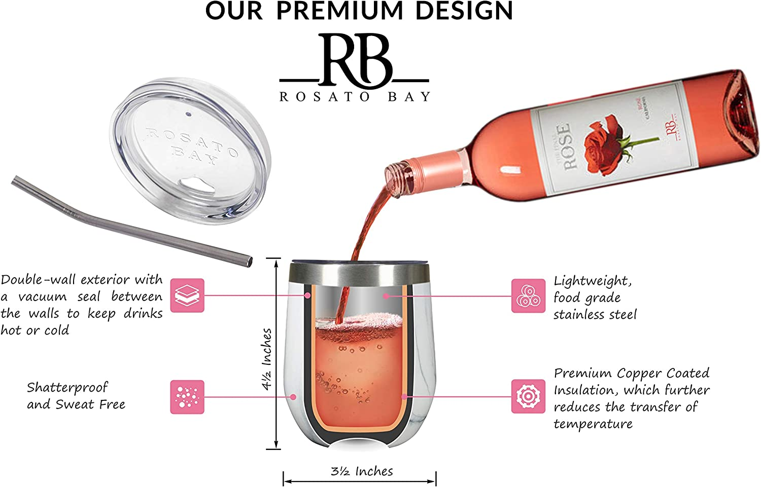 Stainless Steel Mug Rosato Bay Insulated Wine Tumbler with Lid 12 oz Coffee Marble Tea Tumbler Glass Stemless Travel Cup