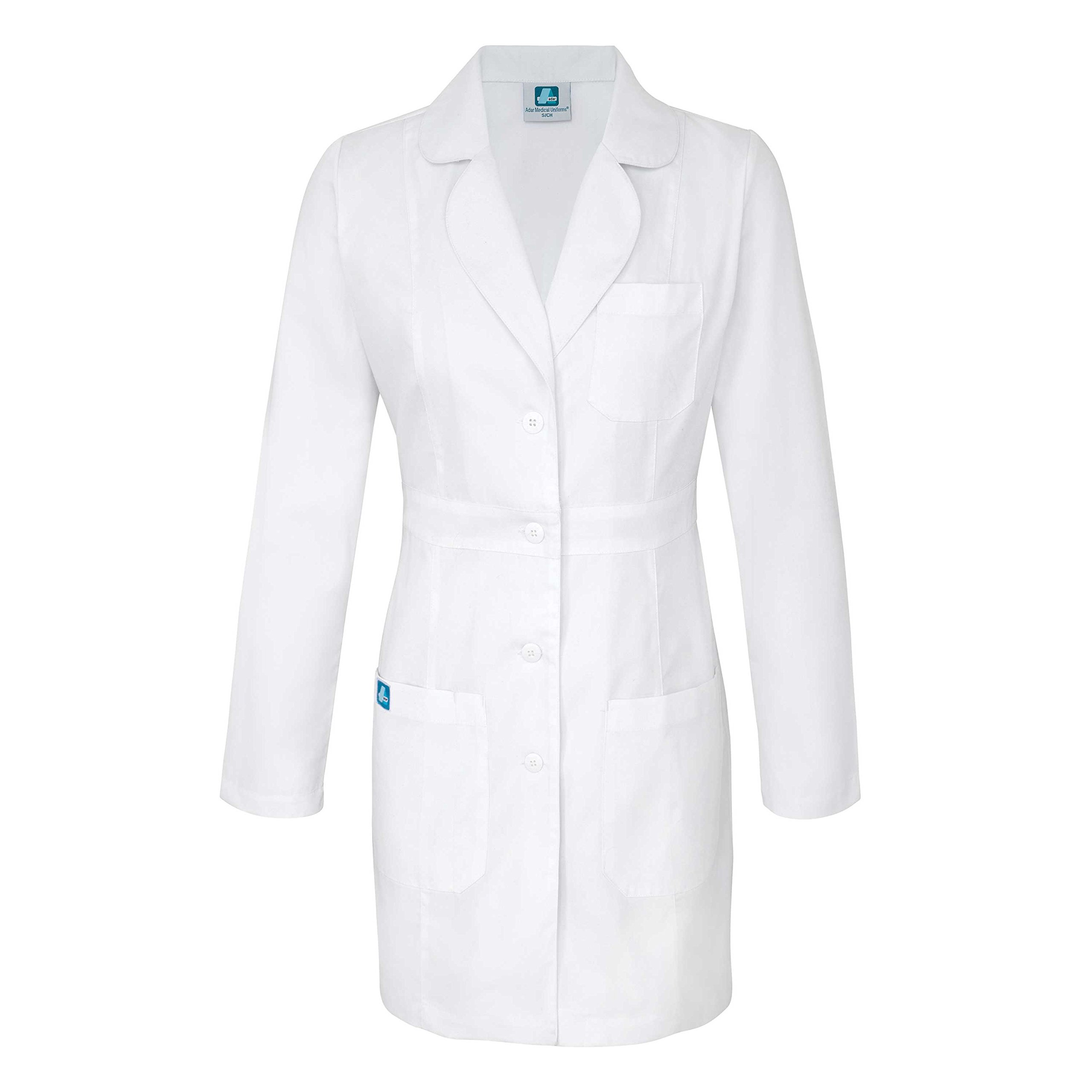 Adar Universal Women's 33'' Adjustable Belt Lab Coat - 2817 - White - S