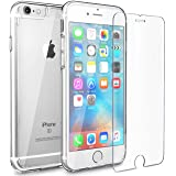 FlexGear Clear iPhone 6s case, [Aura X] Hard PC Back TPU bumper + Tempered Glass Screen Protector for Apple iPhone 6s iPhone 6 (4.7 inch)