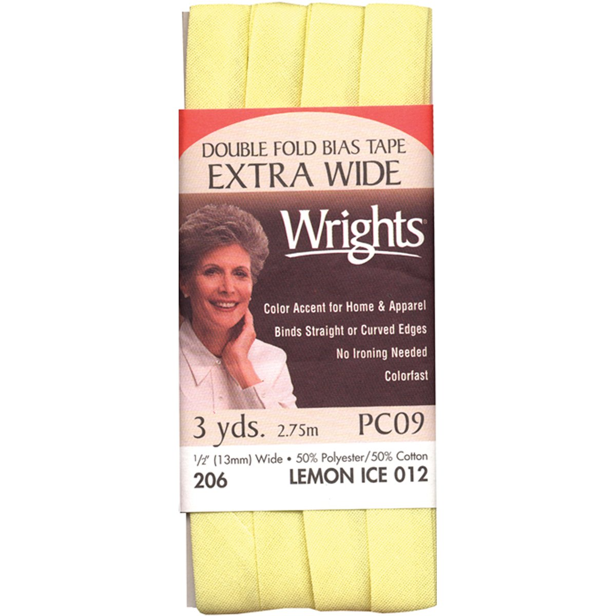 Wrights 117-206-078 Extra Wide Double Fold Bias Tape Yale 3-Yard