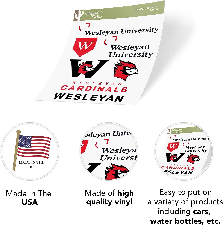 Wesleyan University Cardinals NCAA Sticker Vinyl Decal Laptop Water Bottle Car Scrapbook Type 2 Sheet