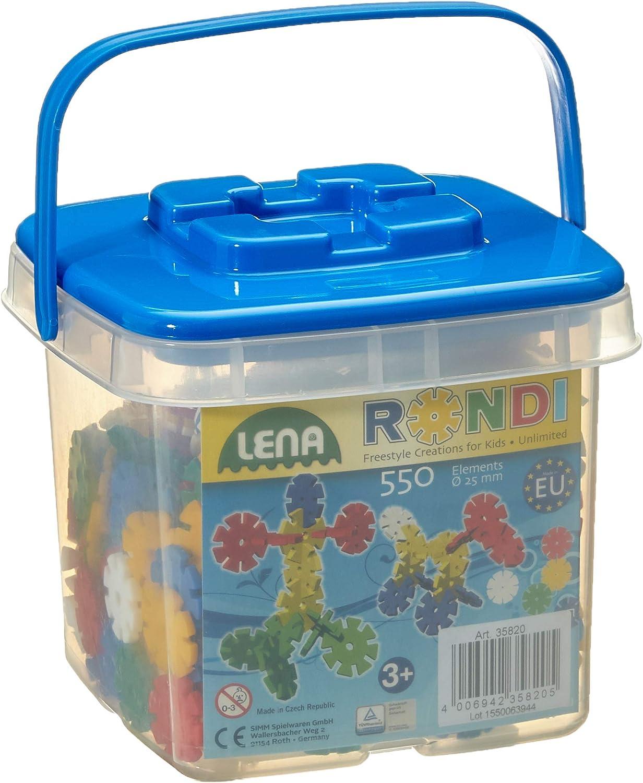 Lena-25 Bucket construcción de Piezas en Cubo (25 mm, Juego de 550 Elementos Rondi), Multicolor (35820)