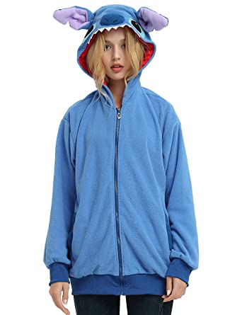 9862169402a8 Amazon.com: Lilo and Stitch Hoodie Jacket for Adults and Teens. Halloween  Animal Costume for Women,Men and Teenagers.: Clothing