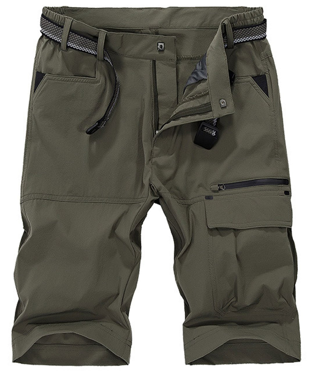 HOW'ON Men's Outdoor Expandable Waist Lightweight Quick Dry ShortsArmy Green 34