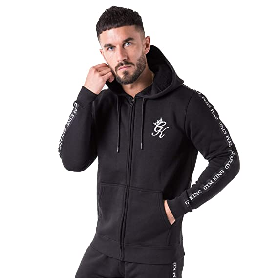 7c053b0a5574d8 Gym King Taped Zip Hood Track Top  Amazon.co.uk  Clothing