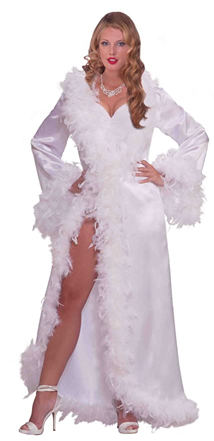 1950s Costumes- Poodle Skirts, Grease, Monroe, Pin Up, I Love Lucy Vintage Hollywood Marabou Satin Robe $25.63 AT vintagedancer.com