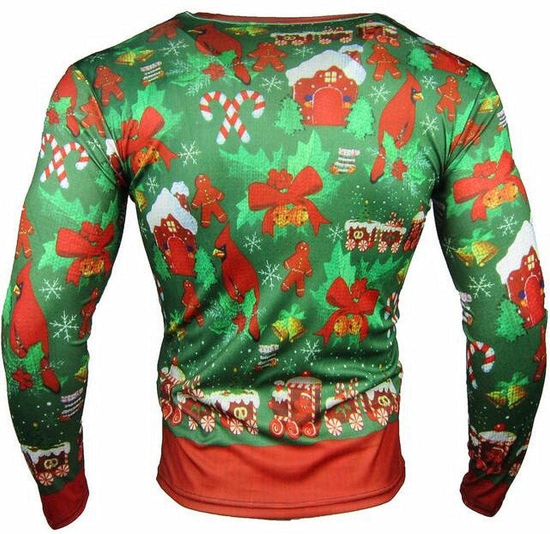 ONTBYB Mens Round Neck Long Sleeve Christmas Snowman Loose Fit Sweatshirt