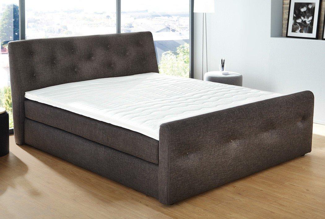 boxspringbett bernardo 180x200cm bezug braun doppelbett hotelbett komfortbett bett. Black Bedroom Furniture Sets. Home Design Ideas
