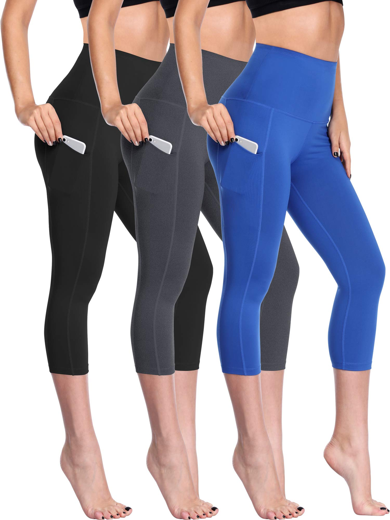 Neleus Women's 3 Pack Tummy Control High Waist Capris Leggings Yoga Pants,109,Black,Grey,Blue,XL by Neleus