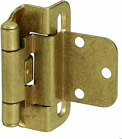 "20-Pack Full-Wrap 1//2/"" Overlay Self-Closing Hinges WITH SCREWS Antique Brass"