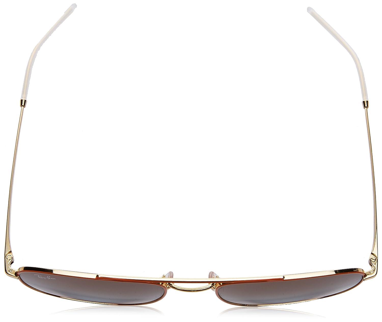 61ba6c33f6 RAYBAN Men s 0RB3588 90612W 55 Sunglasses Gold Top On Orange Light Blue  Gradient Brown  Amazon.co.uk  Clothing