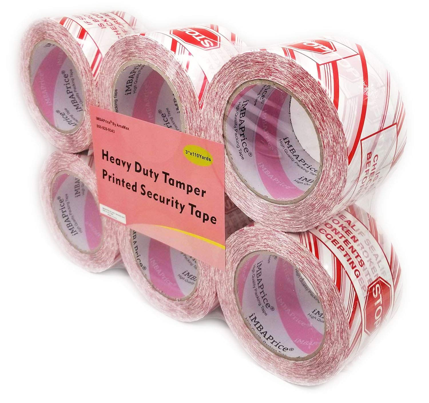 iMBAPrice 6 Rolls of 110 Yard(6X 330 Feet Long) 3-Inches Wide Printed White Carton Sealing Tape with Red Lettering -''IF Seal is Broken'' - 3'' Stop Sign Security Shipping Tape