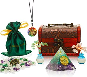 HEXER HAN Orgone Pyramid Kit, Energy Generator Orgone Pyramid Set with Pendant Necklace|Crystals Chips|Quartz Tree for EMF Protection/Prosperity/Chakra Healing/Home Decor(Six-Pointed Star Pattern)