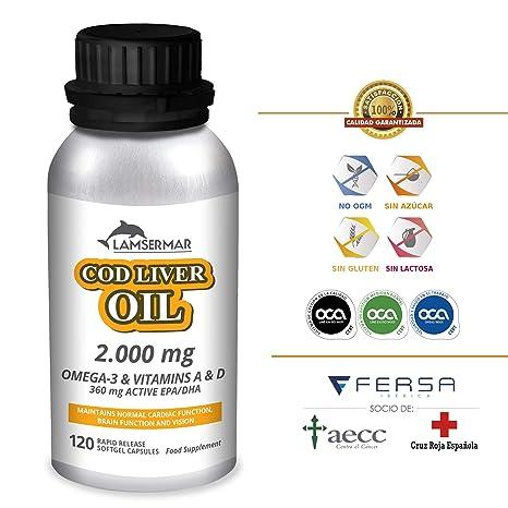 LAMSERMAR – Aceite de Hígado de Bacalao. 2000mg de Omega 3 con Vitaminas A &