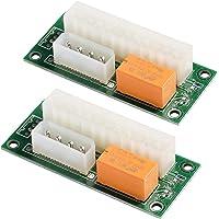 MZHOU 2 Pack Dual PSU Multiple Power Supply Adapter,add2psu ATX 24 pin to Molex 4Pin Connector(2pcs)