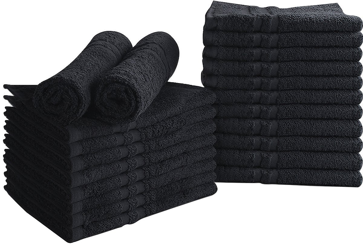 Utopia Towels Cotton Bleach Proof Salon Towels (24-Pack, Black,16 x 27 inches) - Bleach Safe Gym Hand Towel