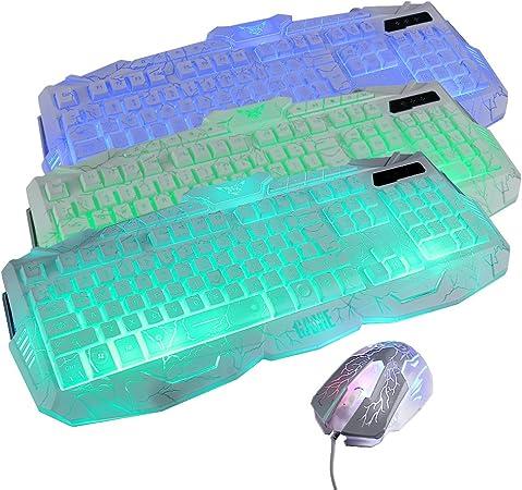 Juego de teclado de gaming con cable, incluye ratón y ...